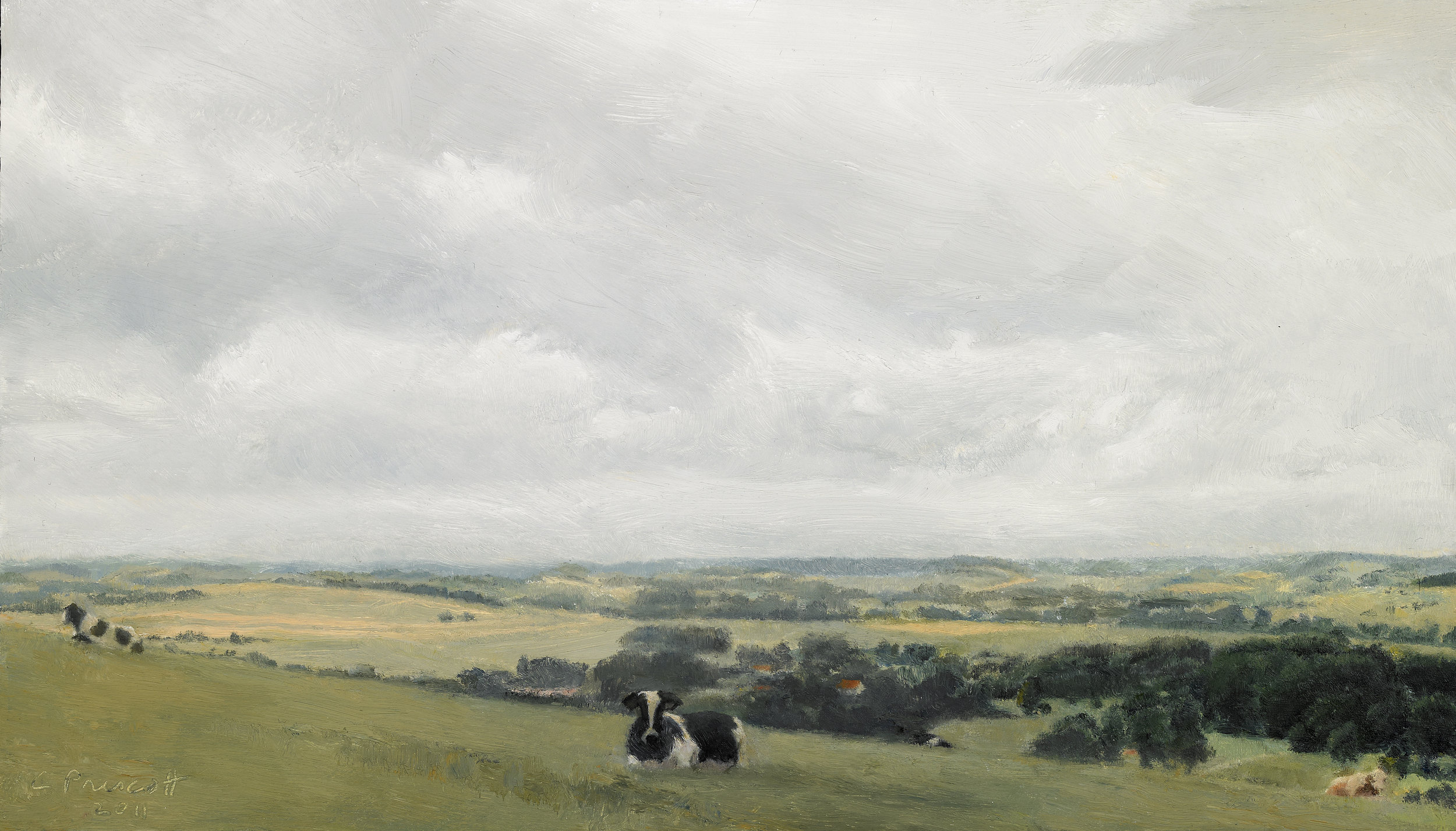 """Cows at Home, Bonning, France I , Oil on Wood Panel, 2011, 8"""" x 14"""""""