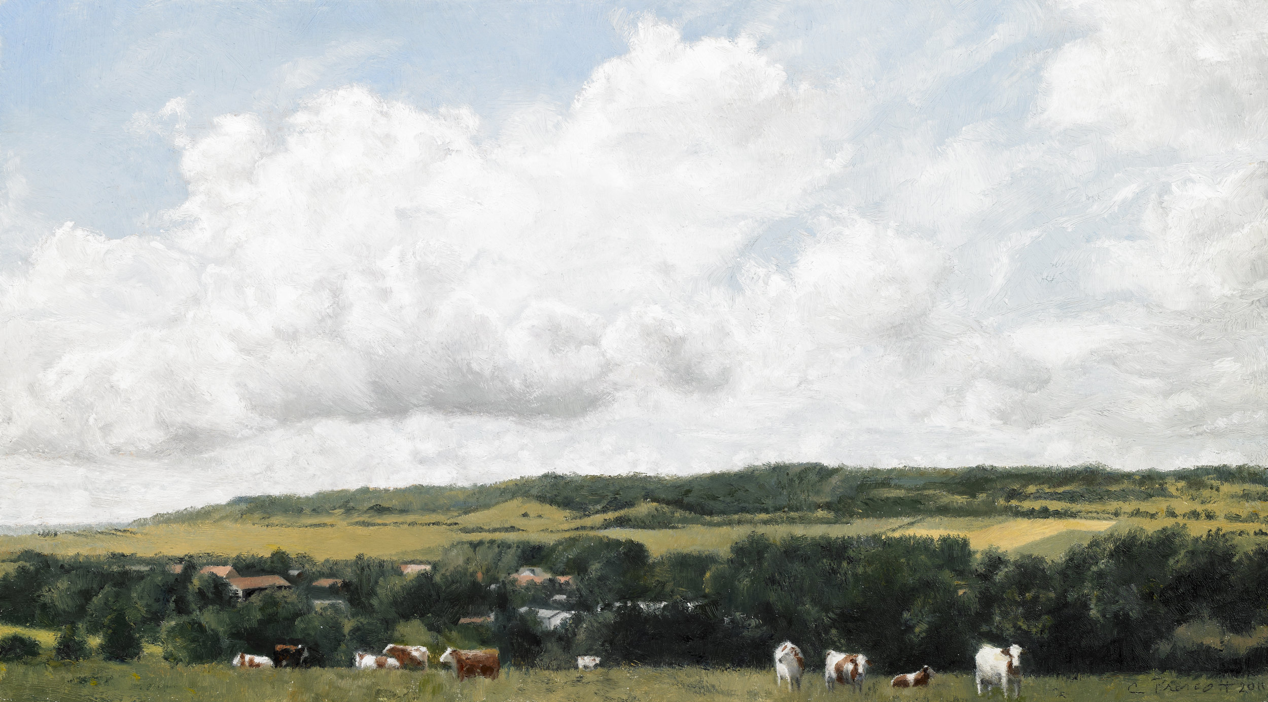 """Cows at Home, Bonning, France III , Oil on Wood Panel, 2011, 8"""" x 14"""""""
