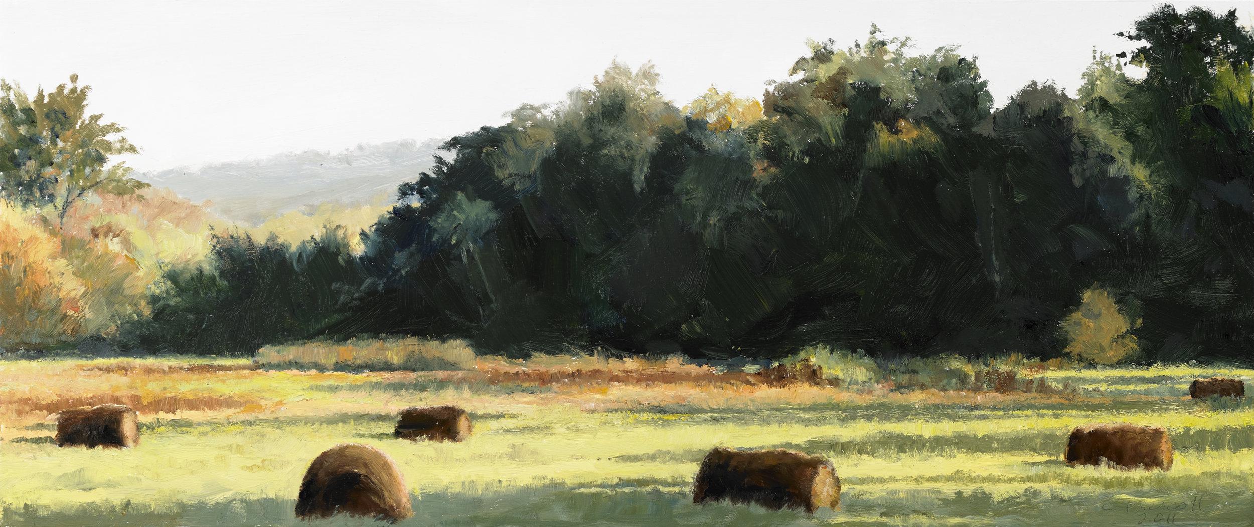"Hay Bales , Oil on Wood Panel, 2011, 7 5/8"" x 18"""