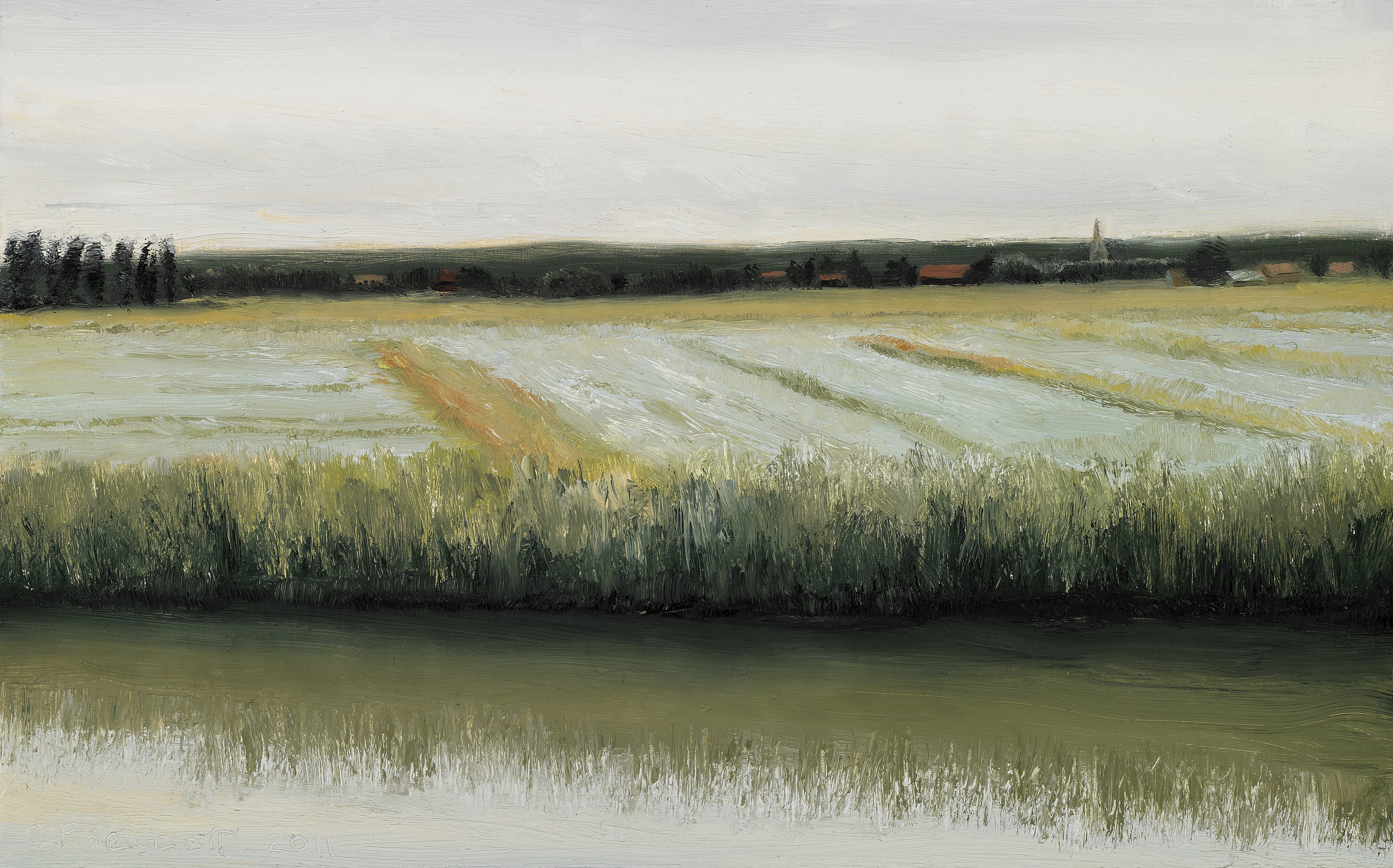 "Linen Fields Along the Calais Canal , Oil on Wood Panel, 2011, 5"" x 8"""