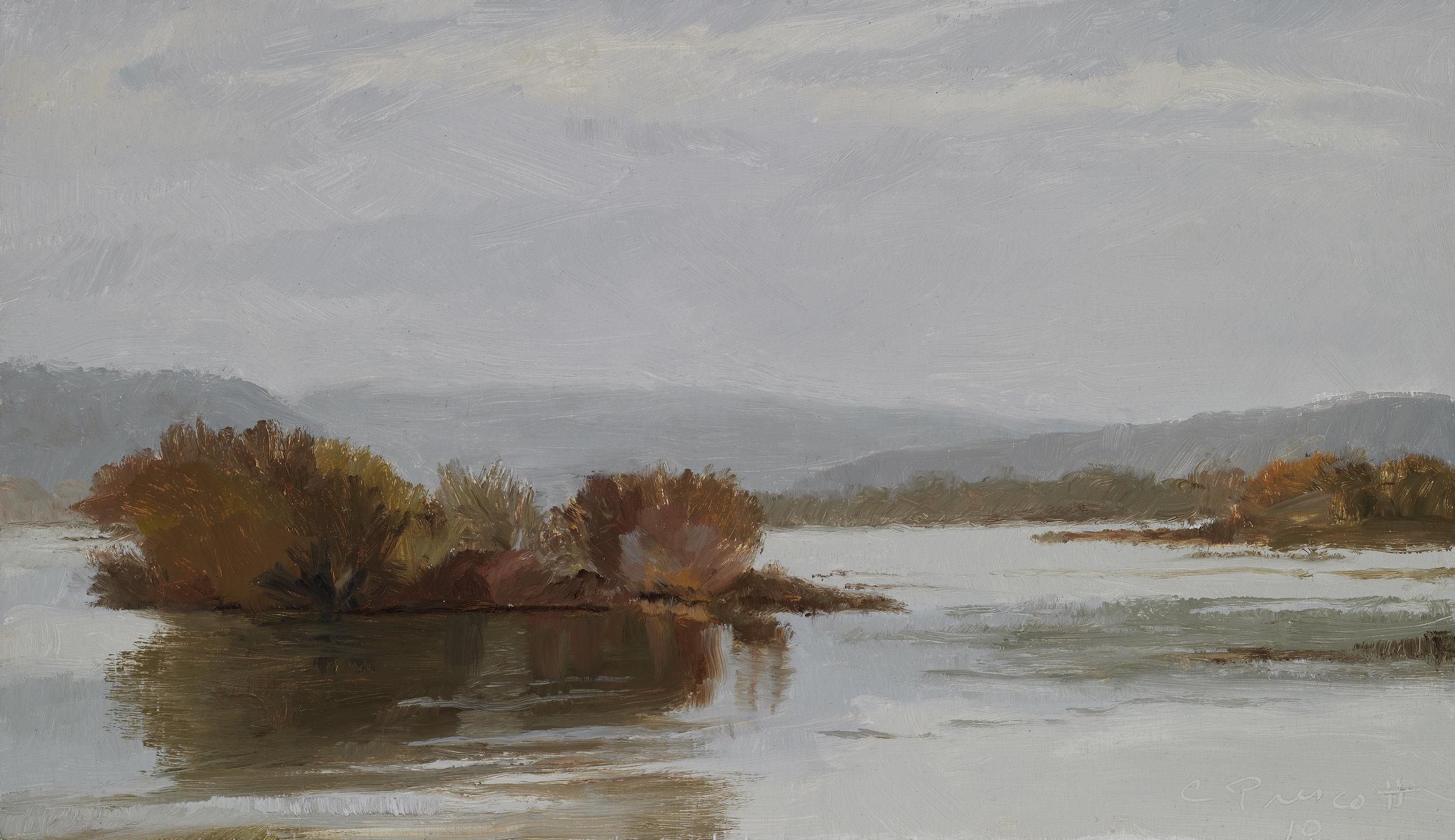 "Susquehanna River , Oil on Wood Panel, 2010, 8 1/4"" x 14 1/4"""