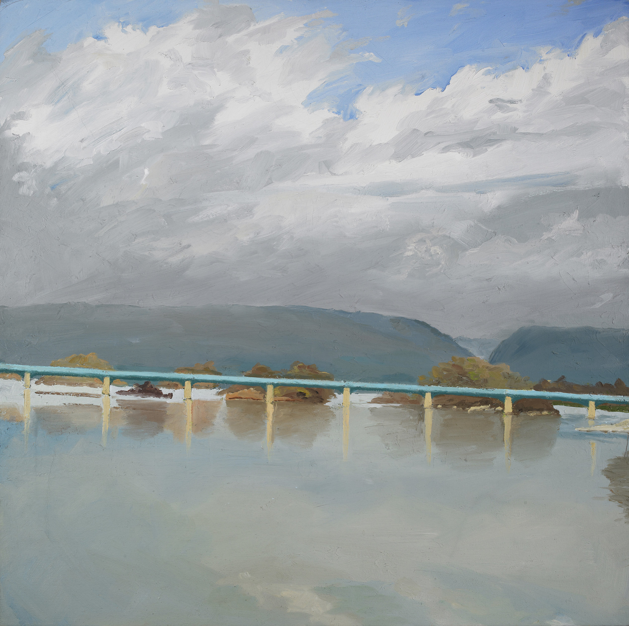 """Storm Clouds Over the Susquehanna , Oil on Canvas, 1985, 26"""" x 26"""""""