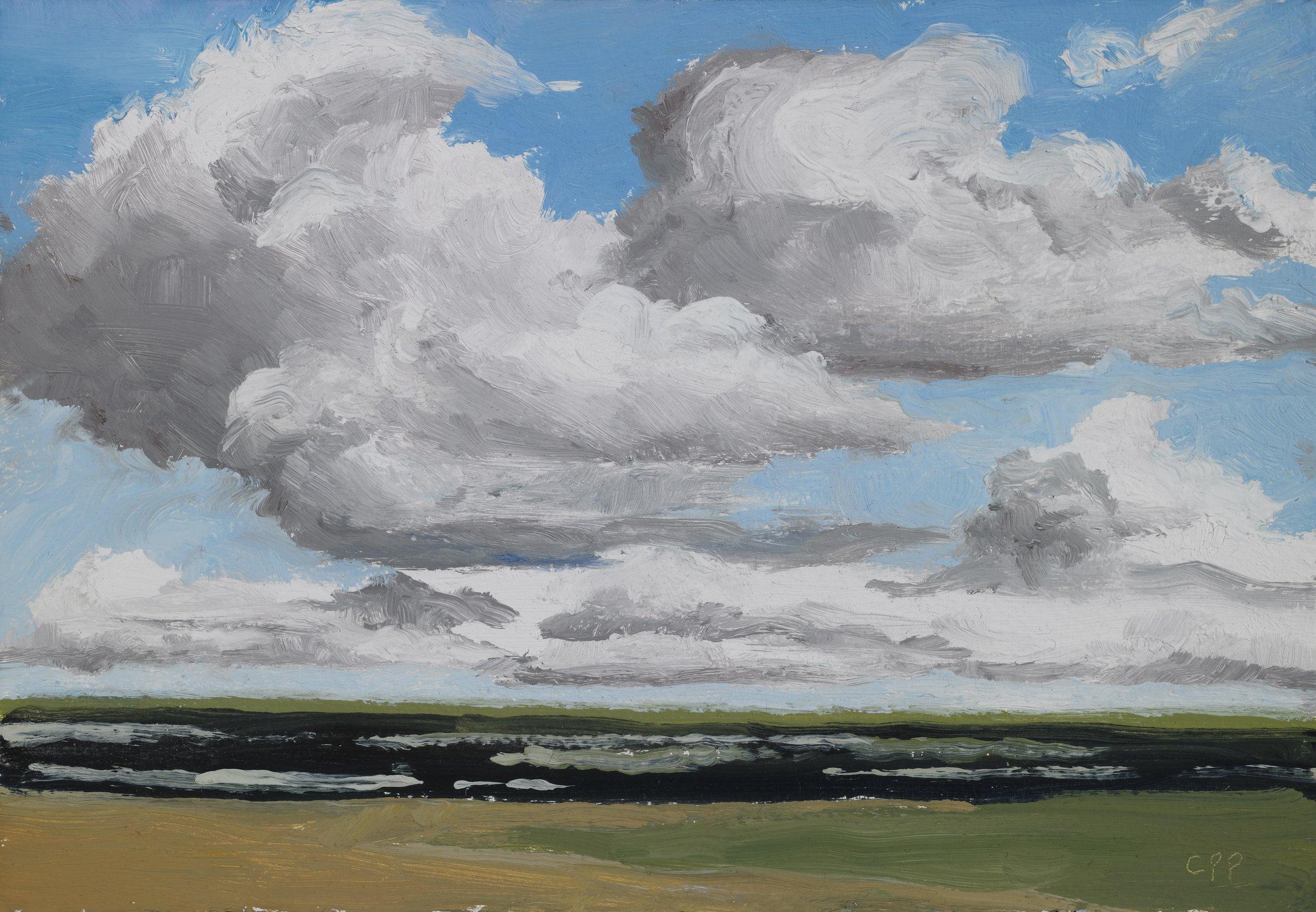 "Cloud Study, Sullivan's Island , Oil on Paper, 2010, 6 7/8"" x 9 7/8"""