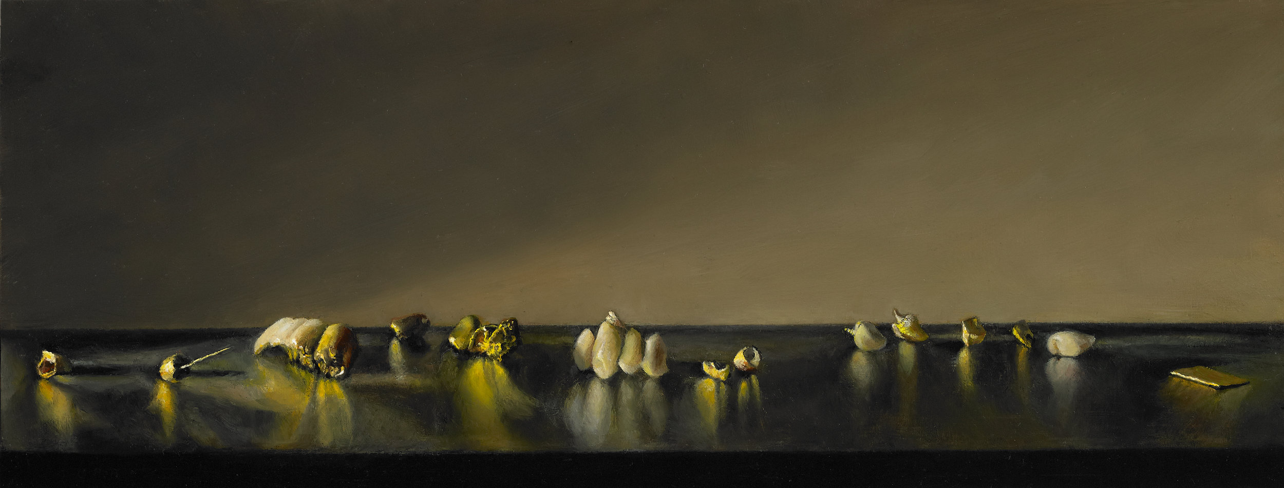 """The History of Gold , Oil on Wood Panel, 2011, 5 1/2"""" x 14"""""""