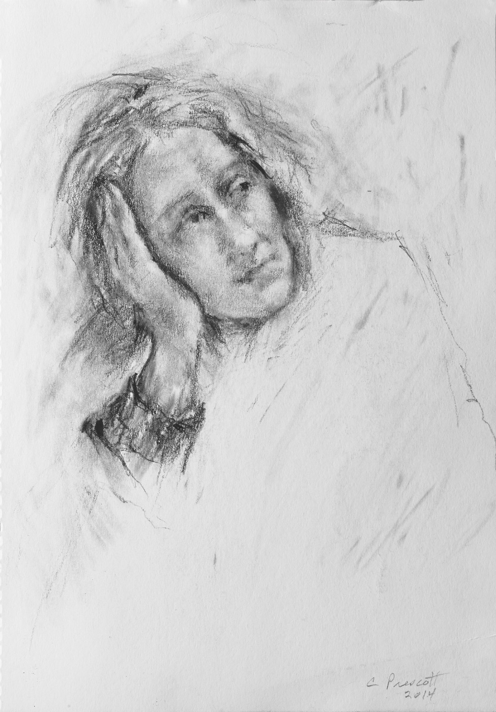 "Daphne , Graphite on Paper, 2014, 8 1/4"" x 5 7/8"""