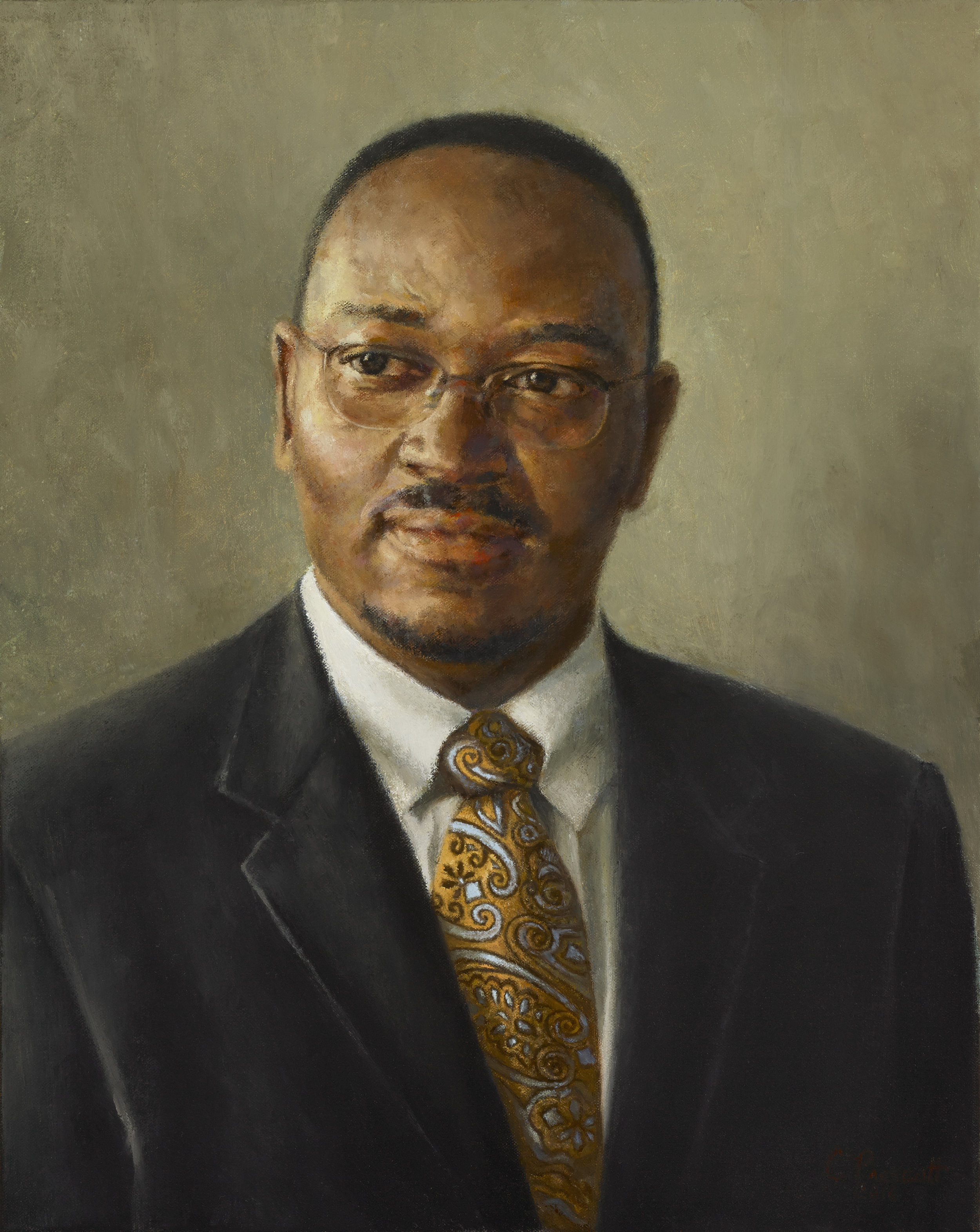 "The Honorable Reverend Clementa C. Pinckney,  2016, Oil on Canvas, 20"" x 16"", Private Collection  Pastor of Emanuel AME Church, Charleston, and one of the nine killed June, 2015"