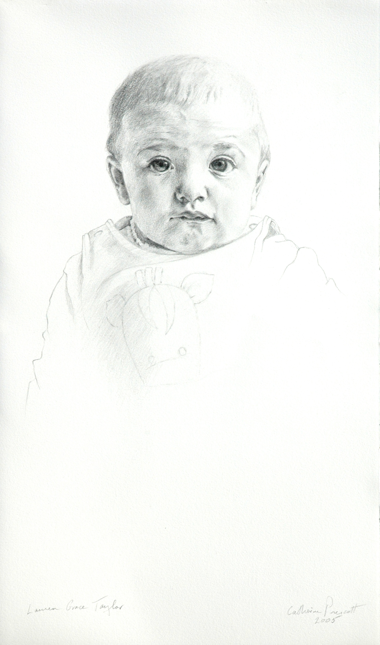 """Lauren Grace Taylor , Graphite on Paper, 2005, 22"""" x 13"""", Private Collection"""