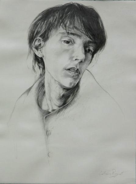 "Carissa Waiting , Graphite on Paper, 2005, 25.5"" x 20.5"""