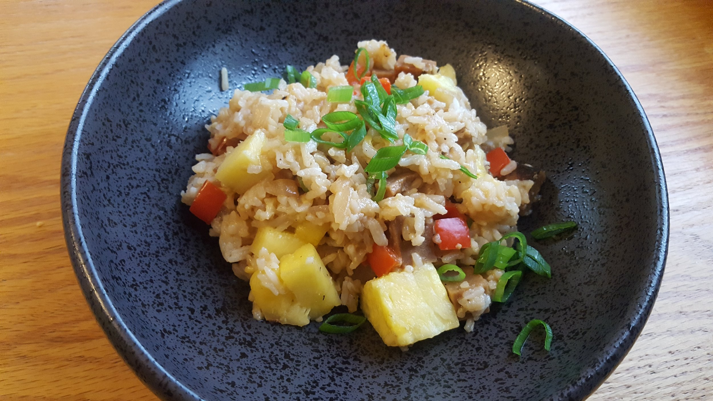 Hawaiian fried rice, vegan style