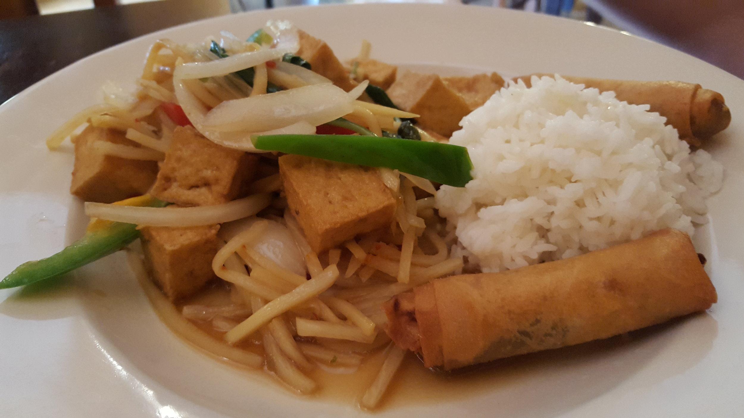Spicy basil leaves w/ tofu