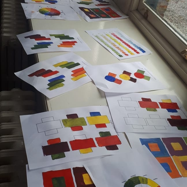First day of the 4 day workshops when the group did colour theory