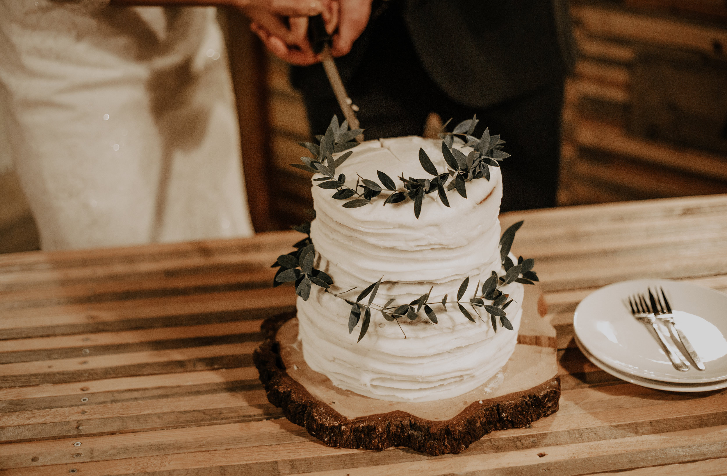 Simple naked cake greenery