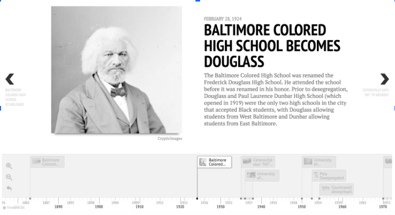 The interactive timeline features key dates and figures relevant to Maryland's history of school segregation and the fight for equal education and desegregation.