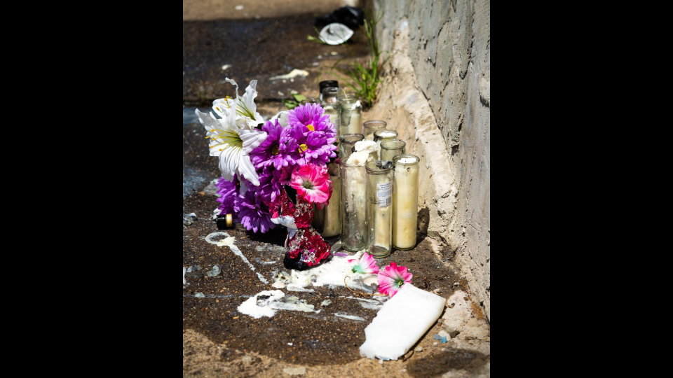 In McElderry Park, shrines mark locations of the death of loved ones (Justin Marine).