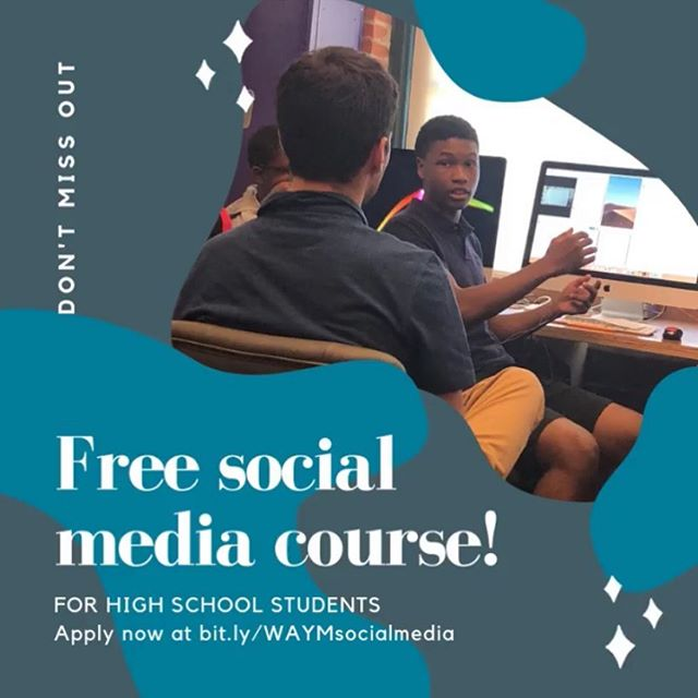 ✨We're recruiting high school students for a free social media course.✨ . Students involved will learn how to build a social media campaign and attract followers, learn basic photography, video and graphic design skills. Students will also have an opportunity to meet and interview community leaders that will be featured as part of the campaign.  Apply now at bit.ly/WAYMsocialmedia (link in bio).