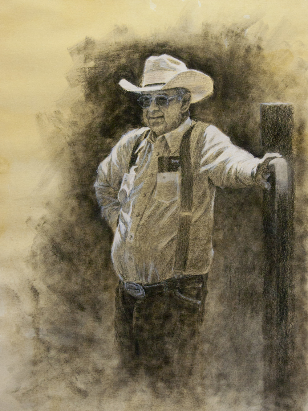 """""""The Ranch Boss""""  Charcoal on tea stained paper, by George Paliotto"""