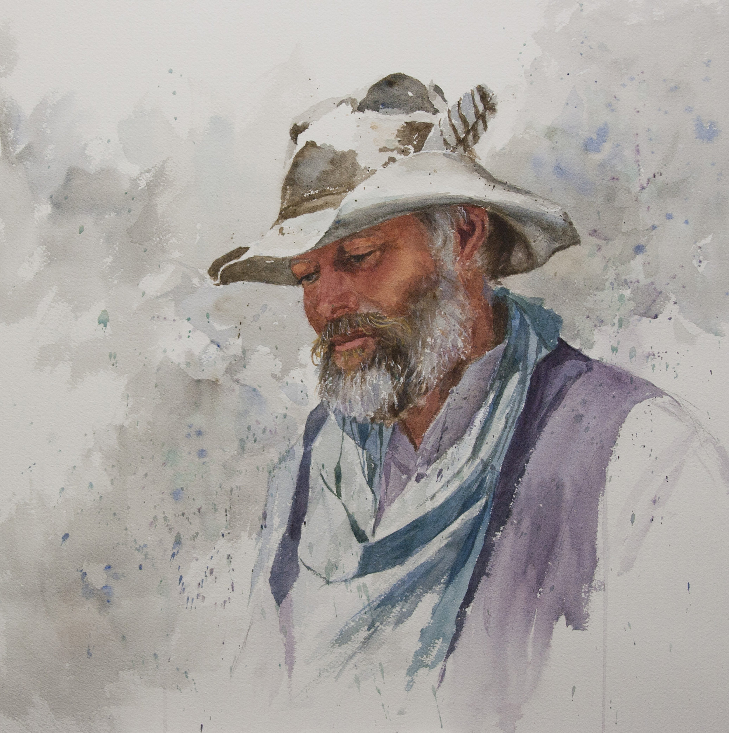"""""""Jake"""" Watercolor on paper, by George Paliotto"""