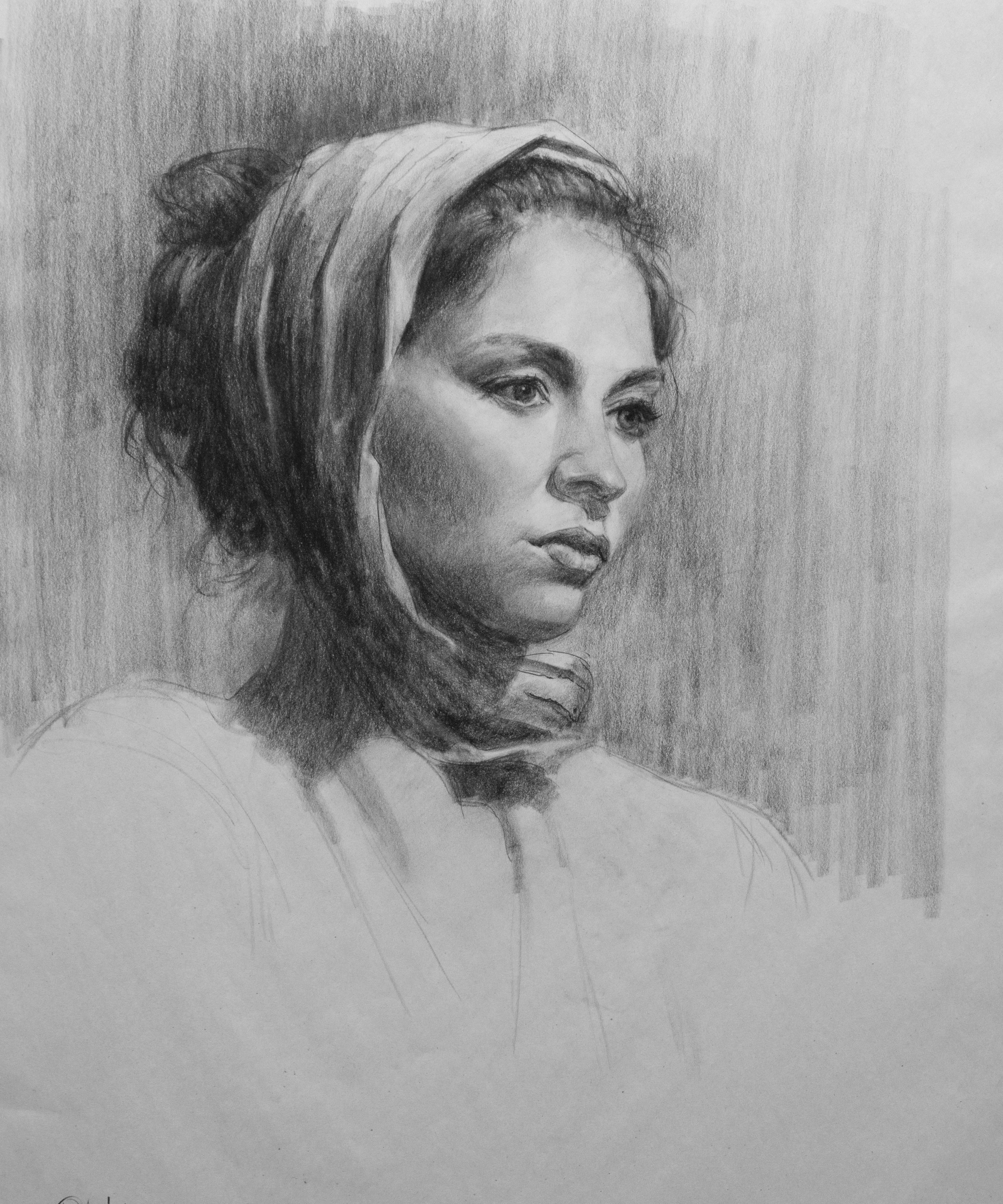 Classroom Demo, charcoal on newsprint--by George Paliotto