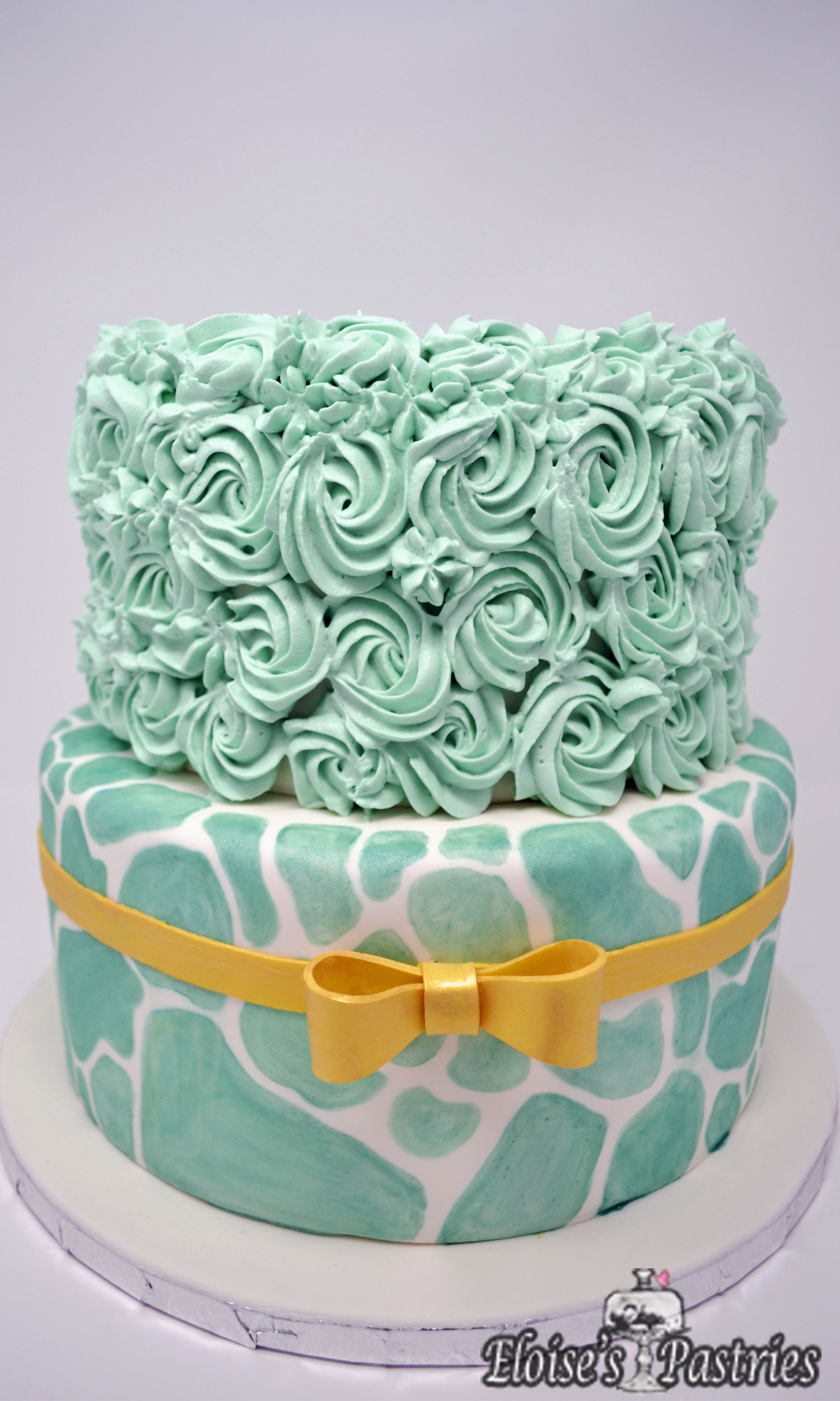 Fabulous Teal & Gold Birthday Cake