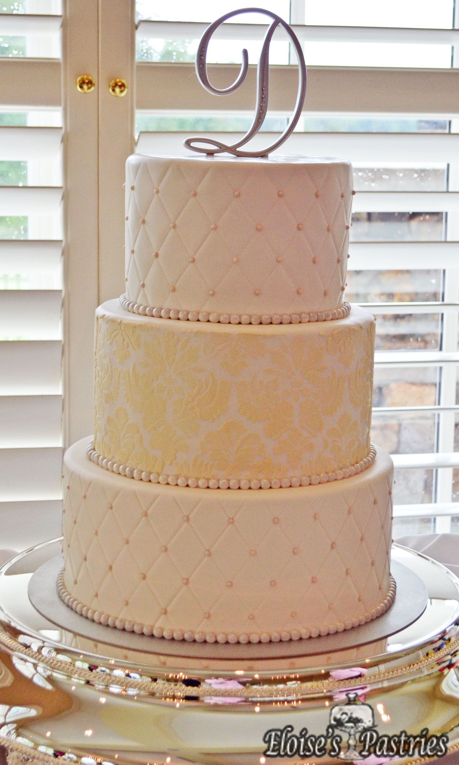 White & Gold Quilted Texture Cake