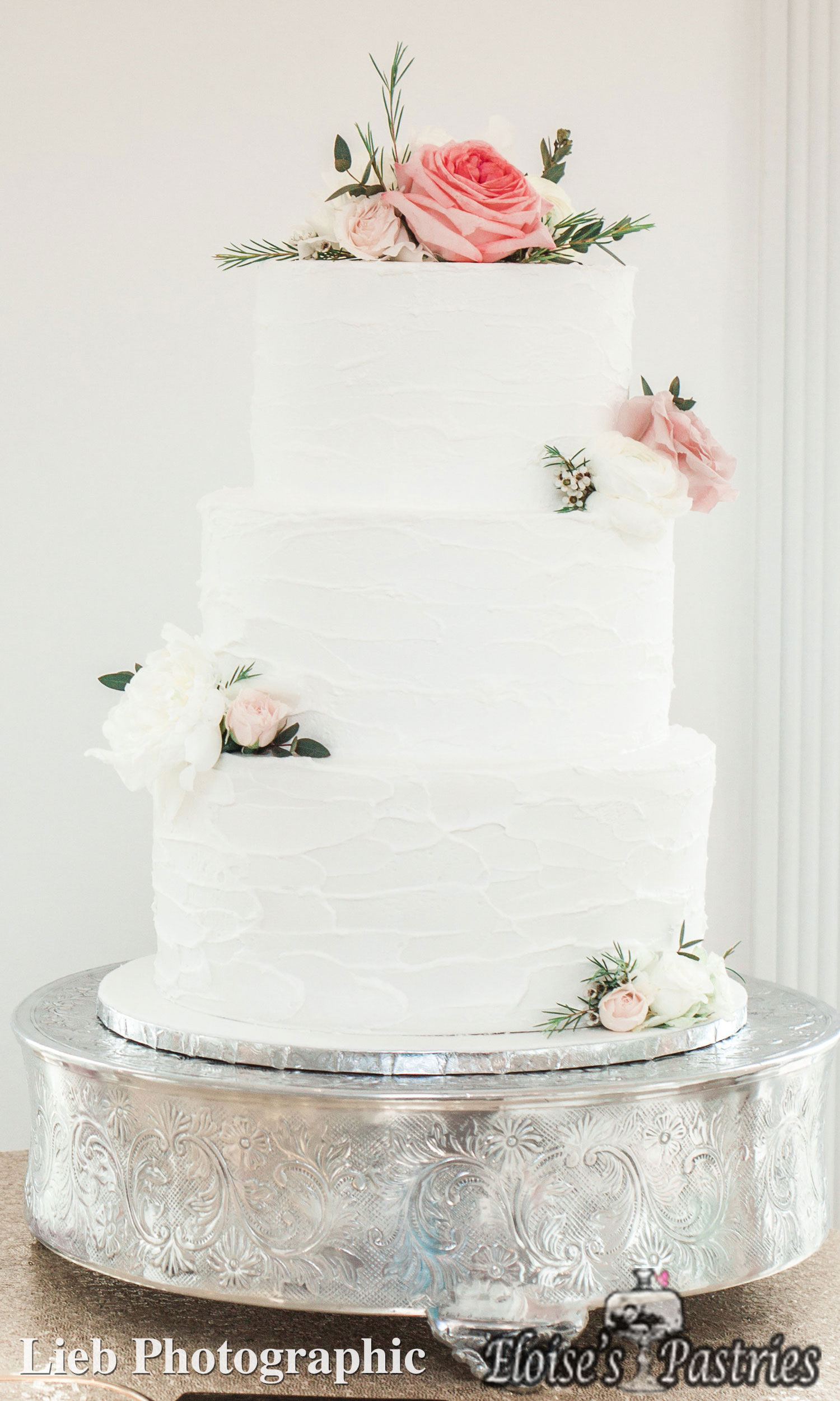 Simple White Textured Floral Cake