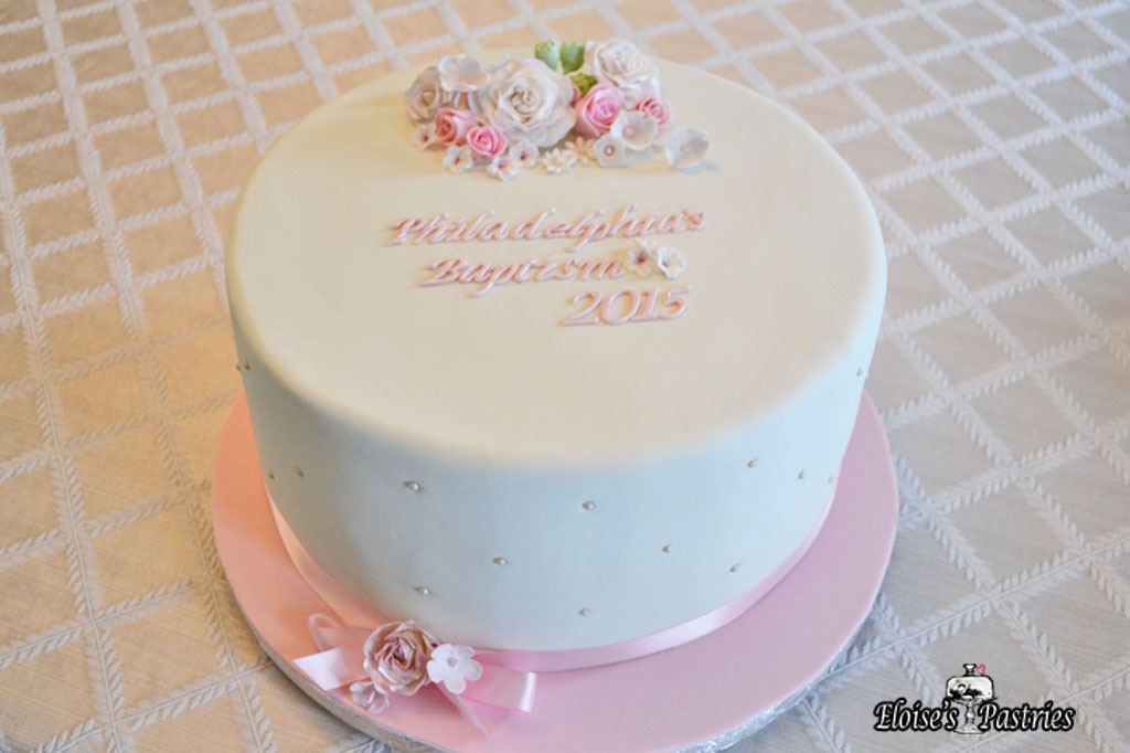 Simple and Pink Baptism Cake