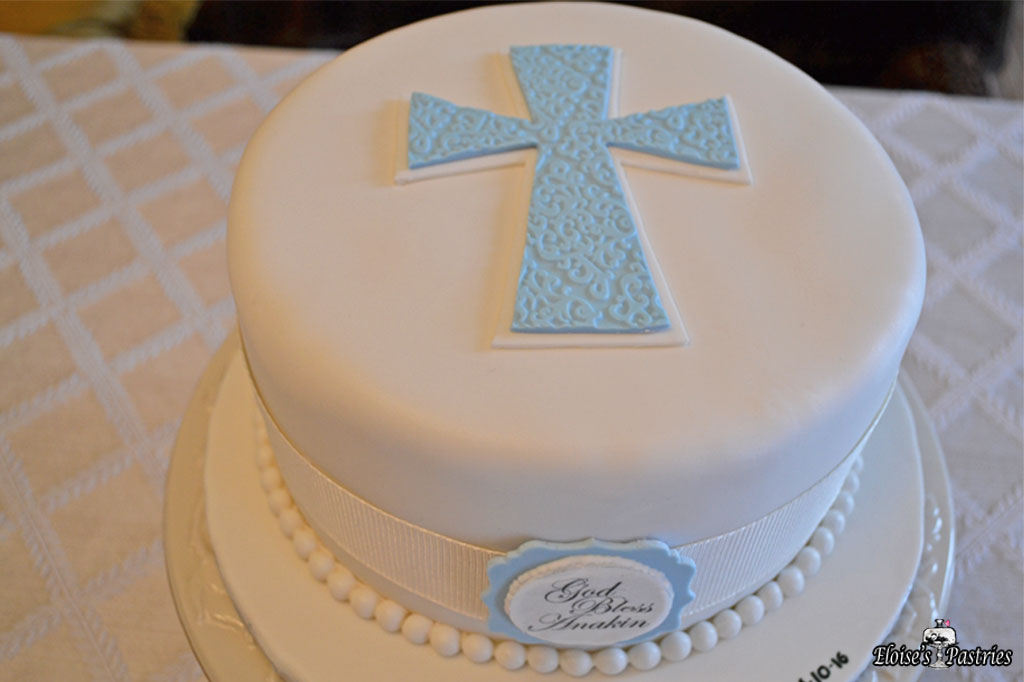 Simple and Blue Baptism Cake