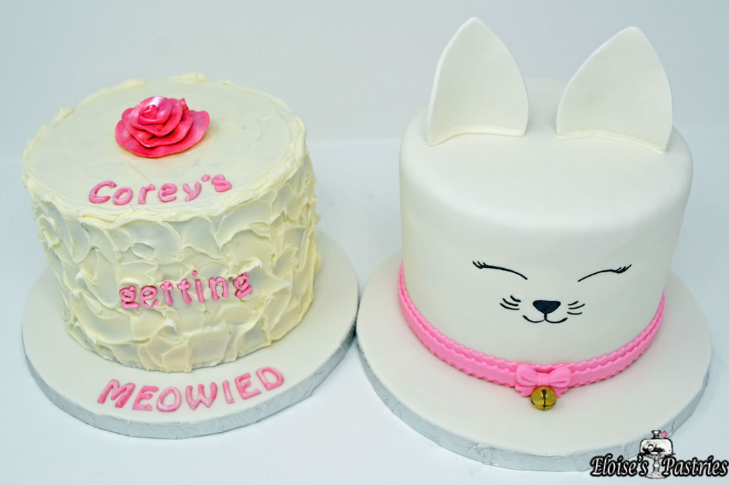 """Getting Meowied"" Bridal Shower Cake"