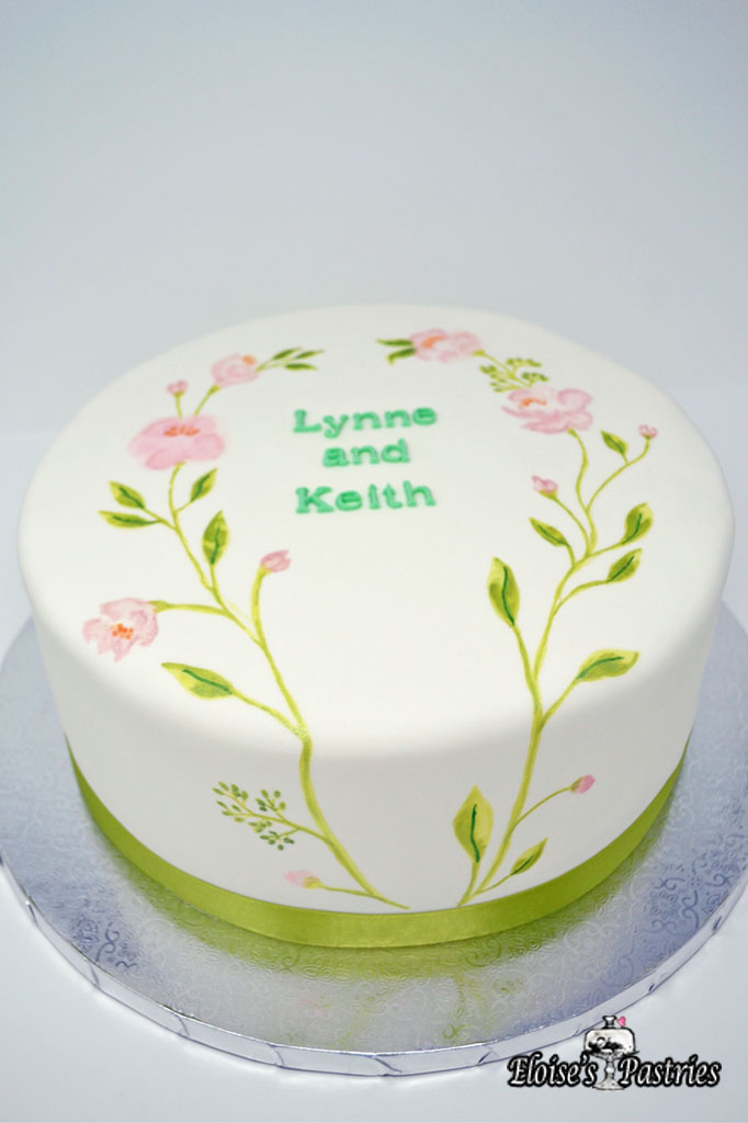 Simple Flowers Bridal Shower Cake