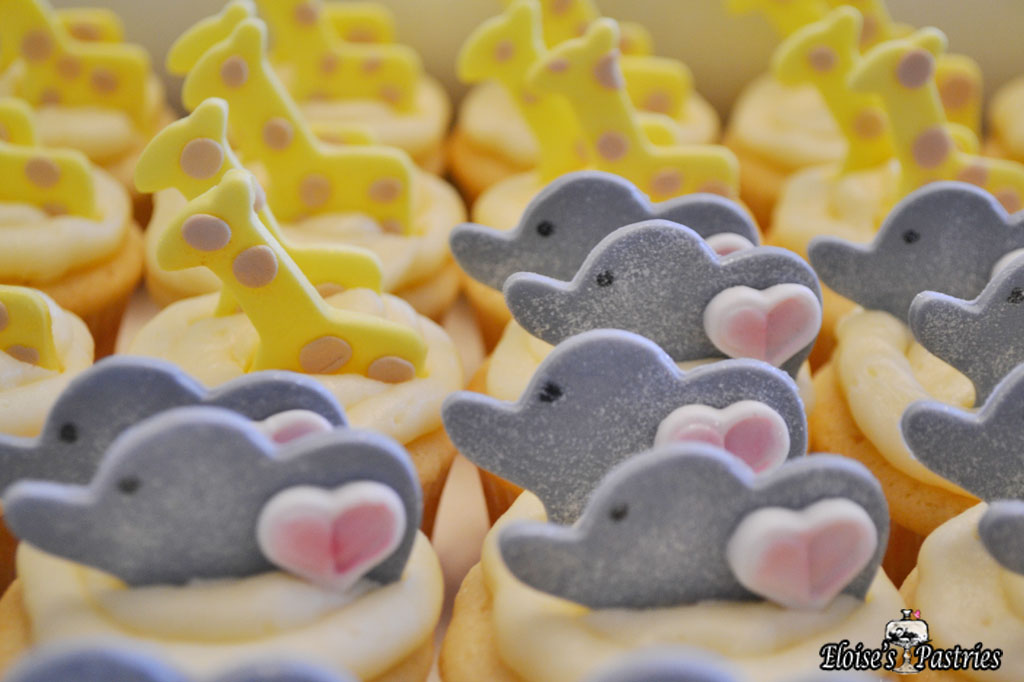 Two-By-Two Elephants and Giraffes Baby Shower Cupcakes