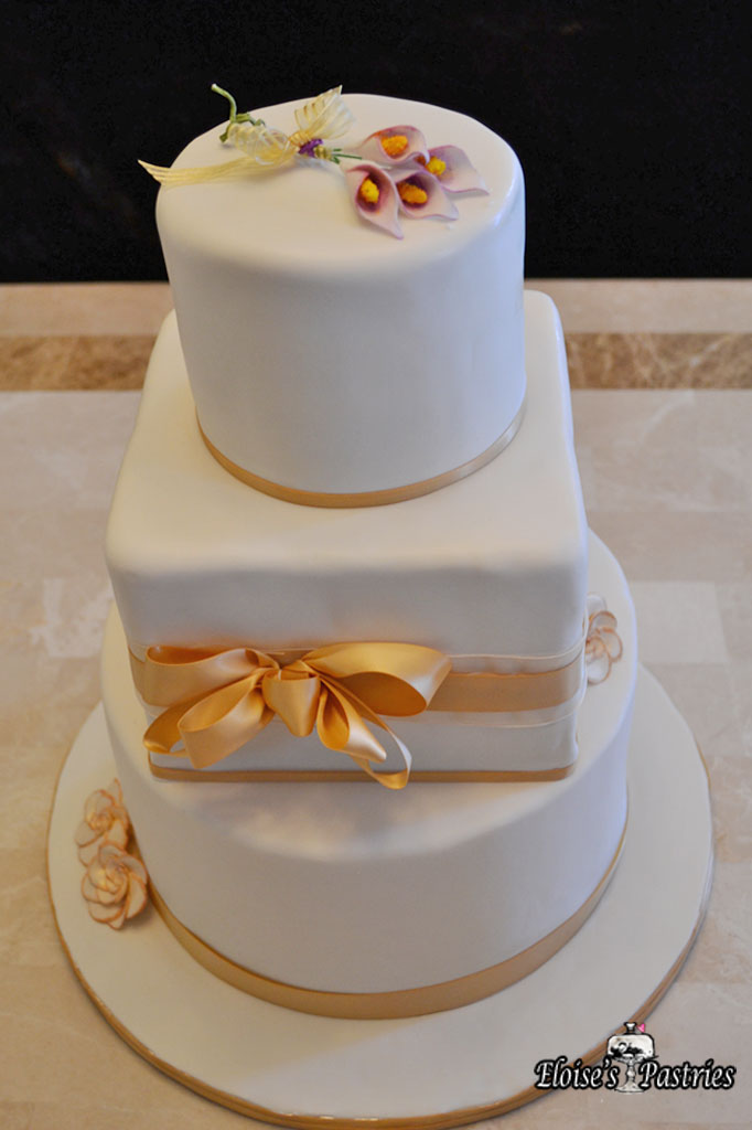 Golden Ribbon Bridal Shower Cake