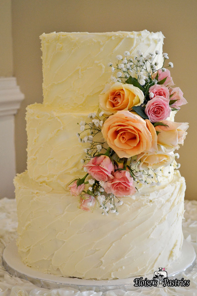 Textured Ivory Floral Cake