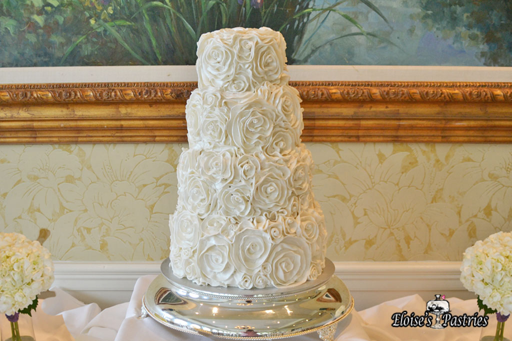 Fancy Floral Textured White Cake