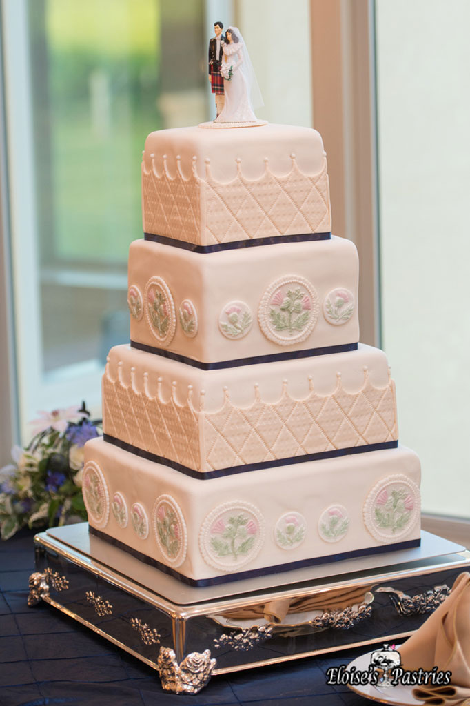 Fancy Floral Decal Textured Cake