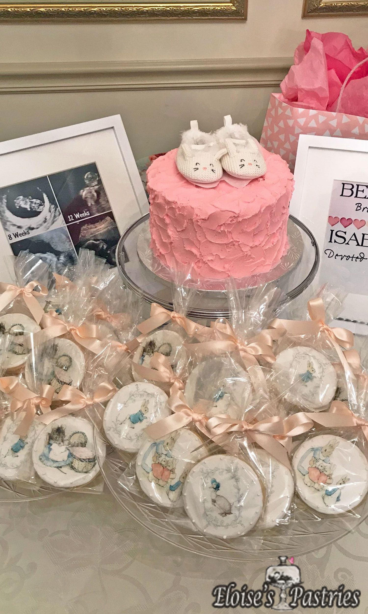 Pretty in Pink Baby Shower cake with Peter Rabbit Cookies