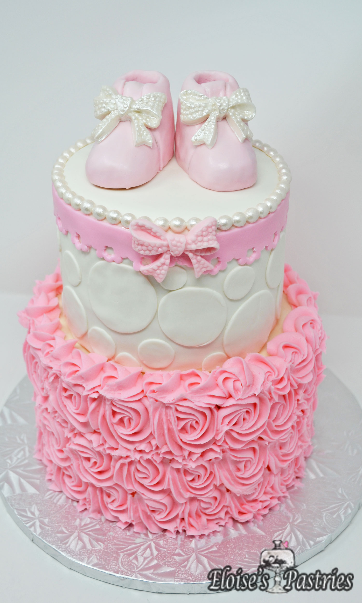 Pink and Girly Baby Shower Cake