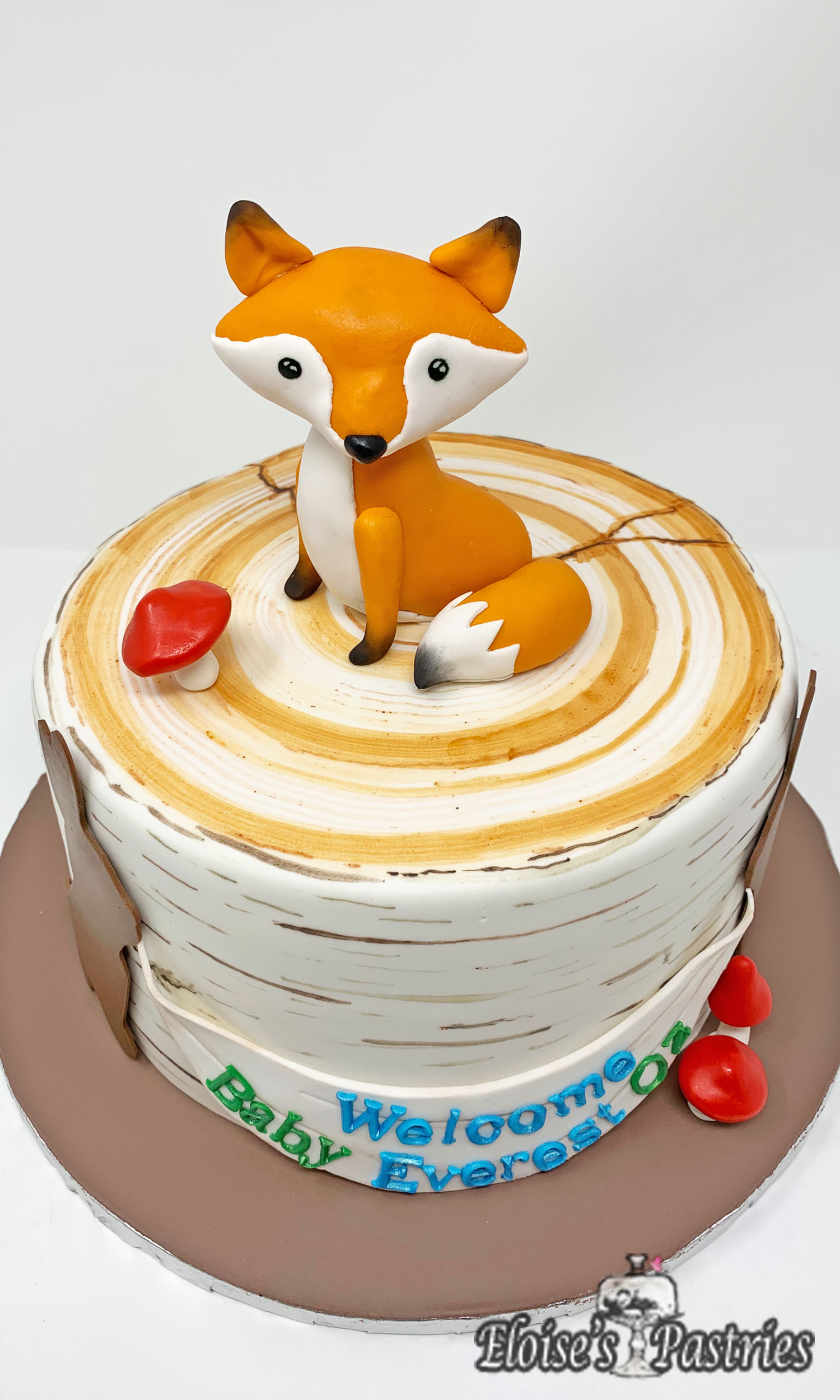 Fox and Woodlands Baby Shower Cake