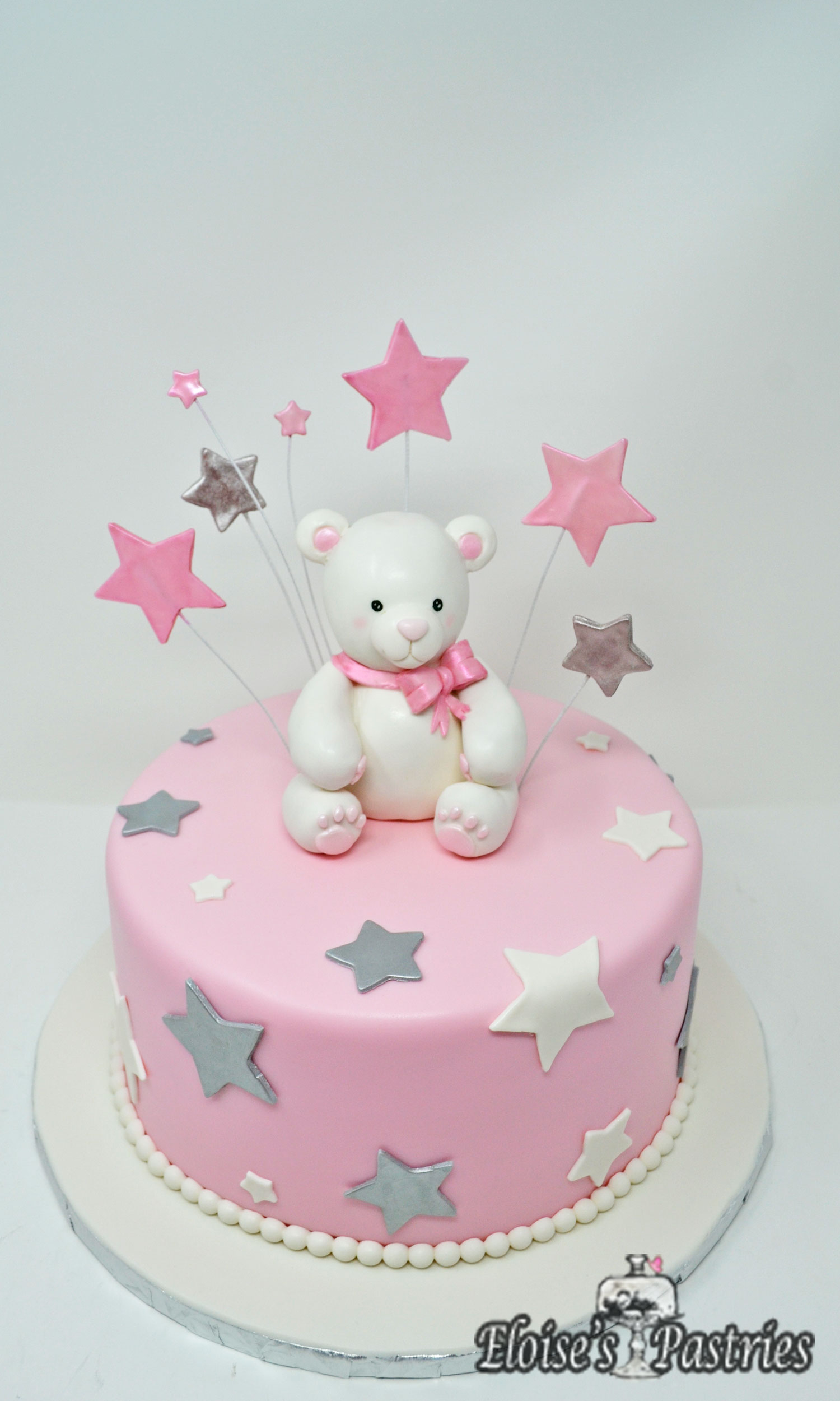 Baby Shower Cakes for Her -- White Teddy Bear & Stars