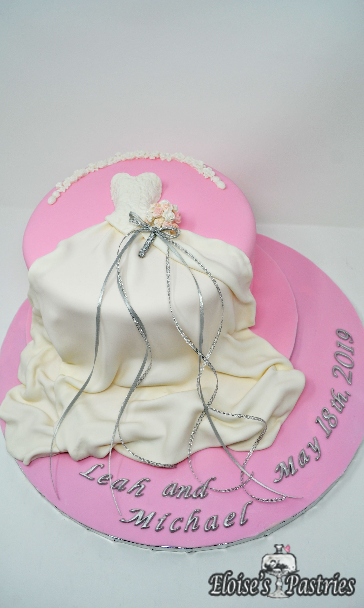 Pink & Silver Wedding Dress Bridal Shower Cake