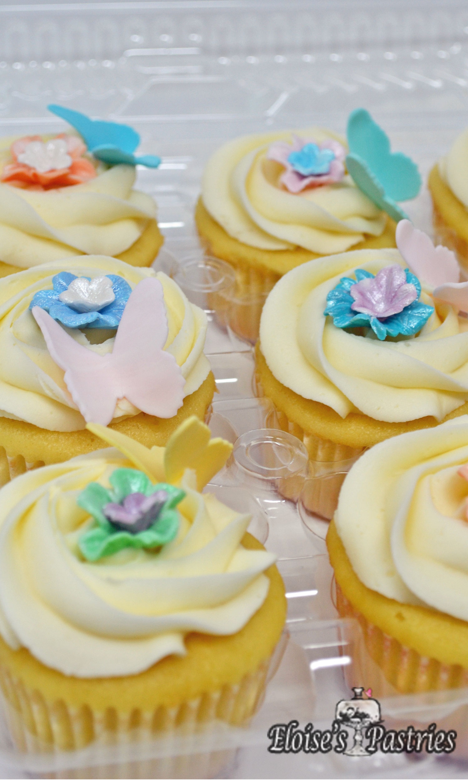 Lady's Tea Flowers & Butterfly Cupcakes