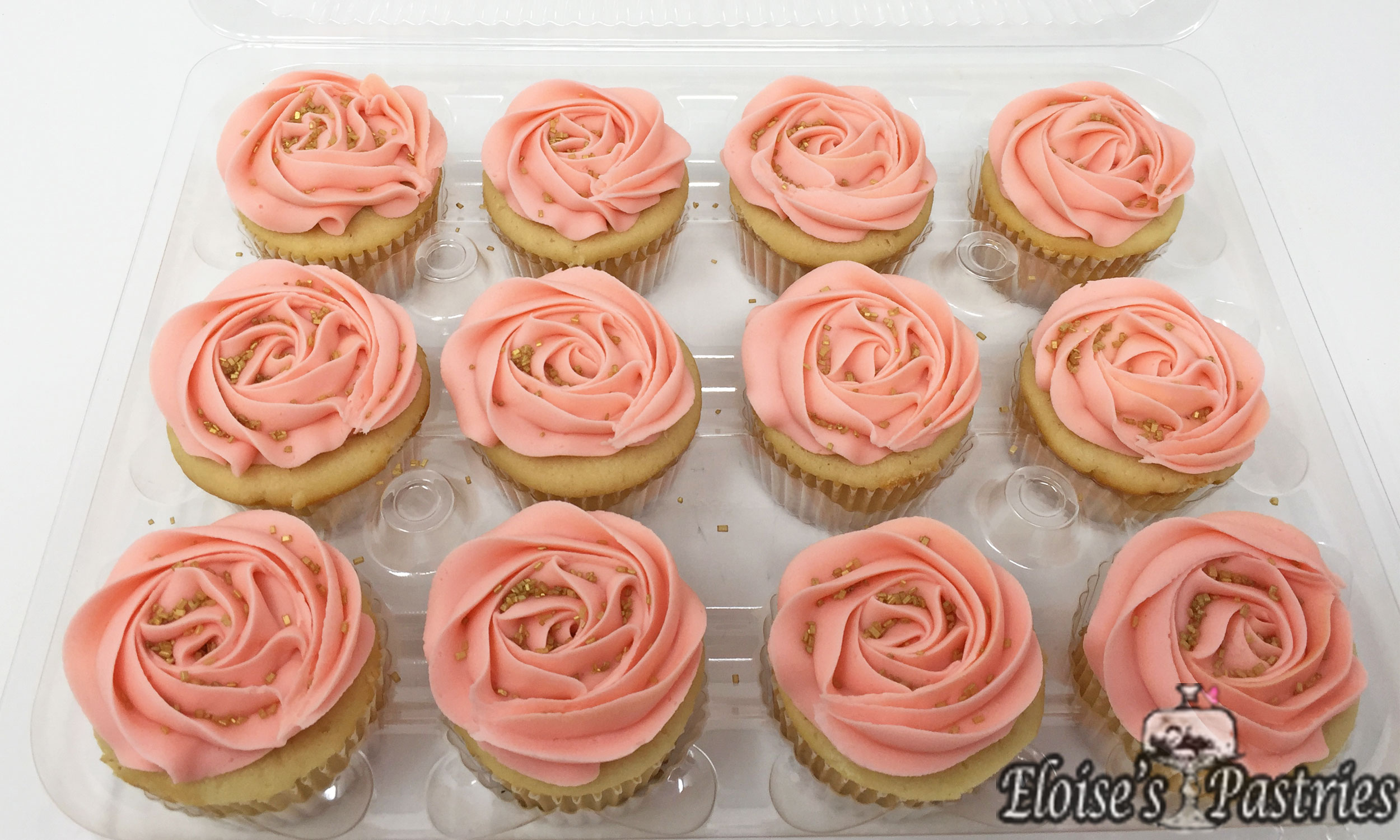 Pink & Gold Frosted Cupcakes