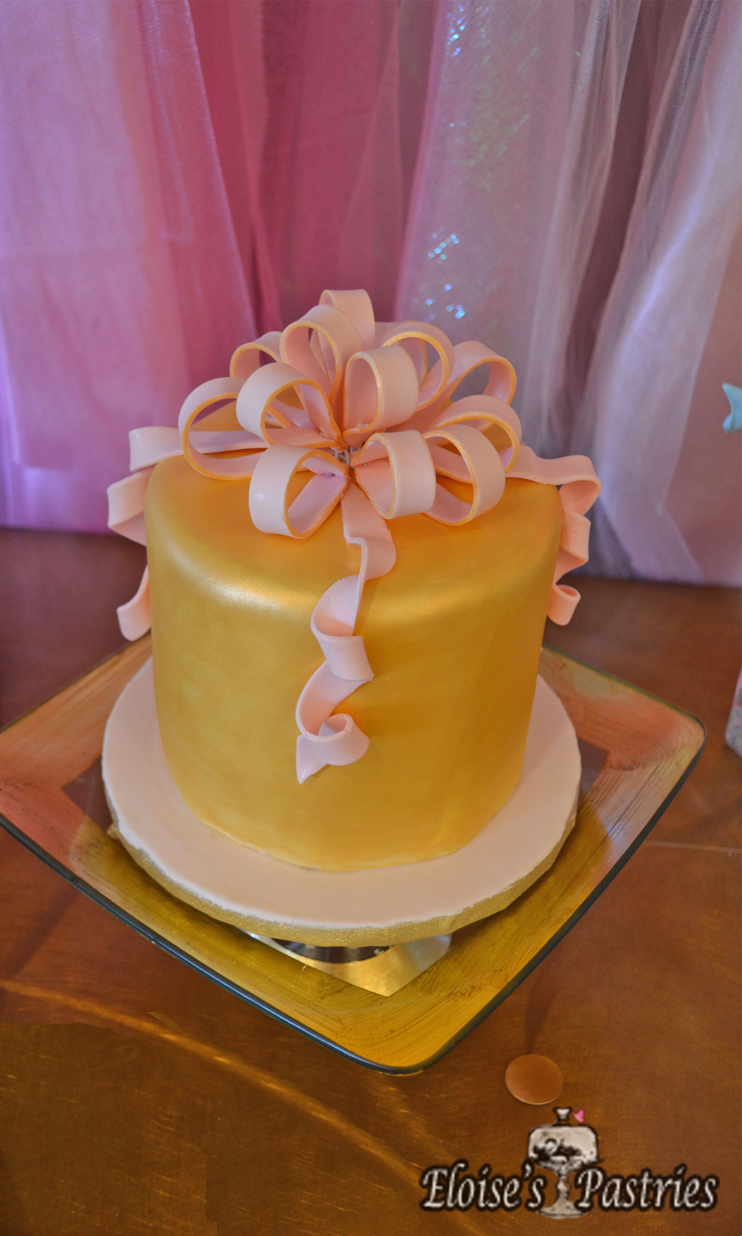 Gold Package Birthday Cake for Her
