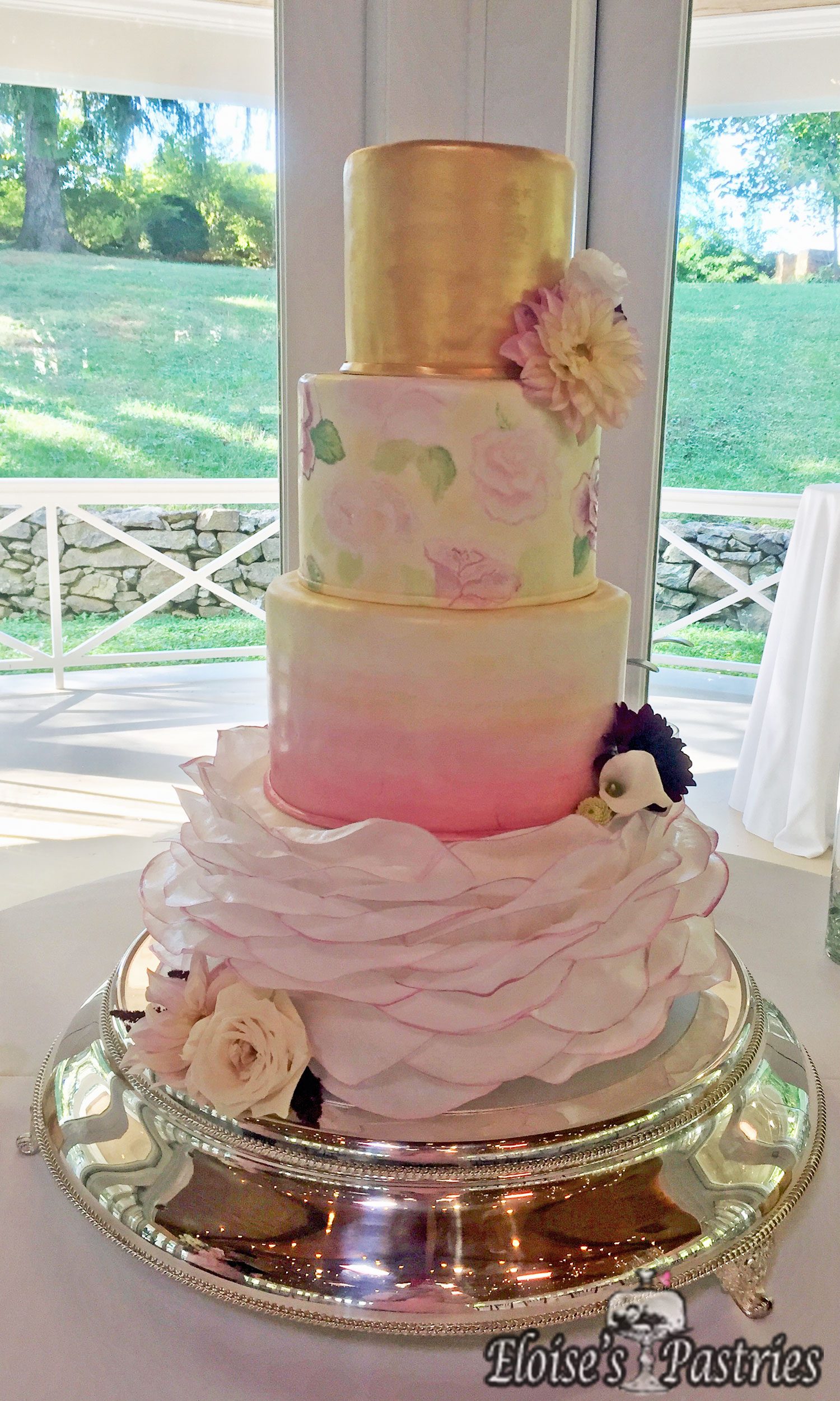 Romantic Wedding Cake in Pinks and Golds