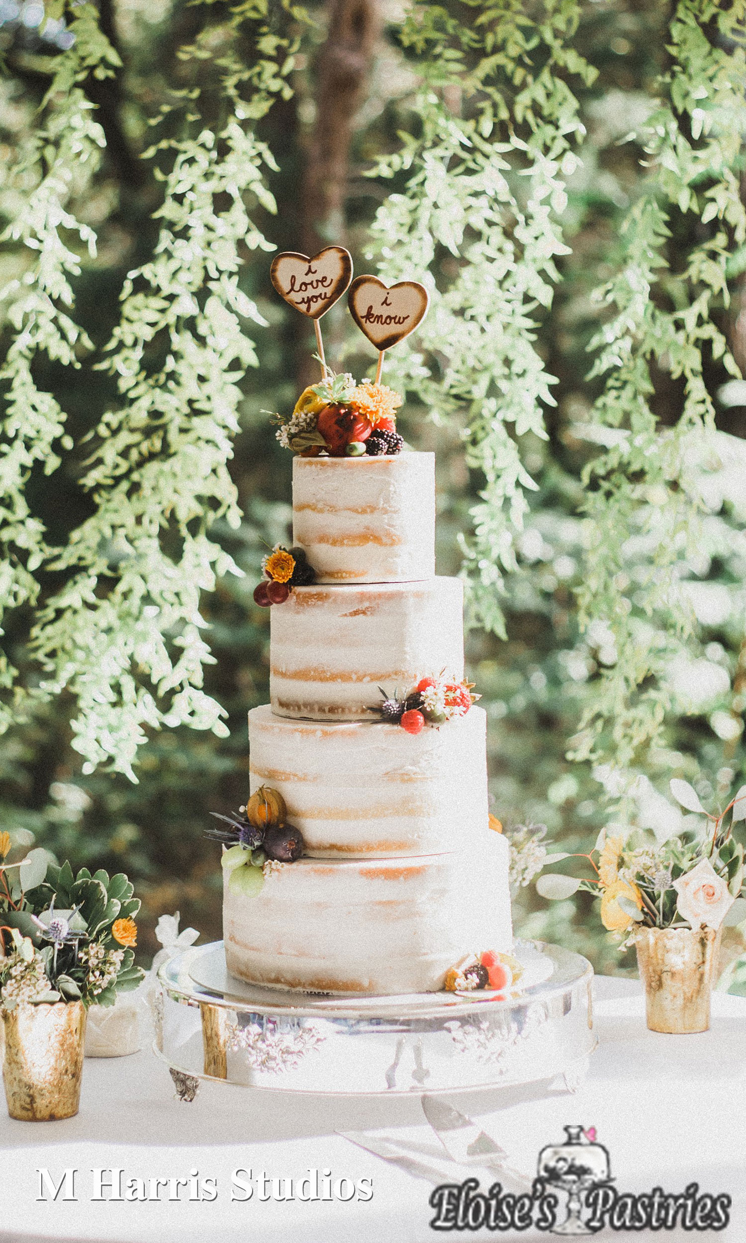 Summer Naked Cake with Berries and Flowers