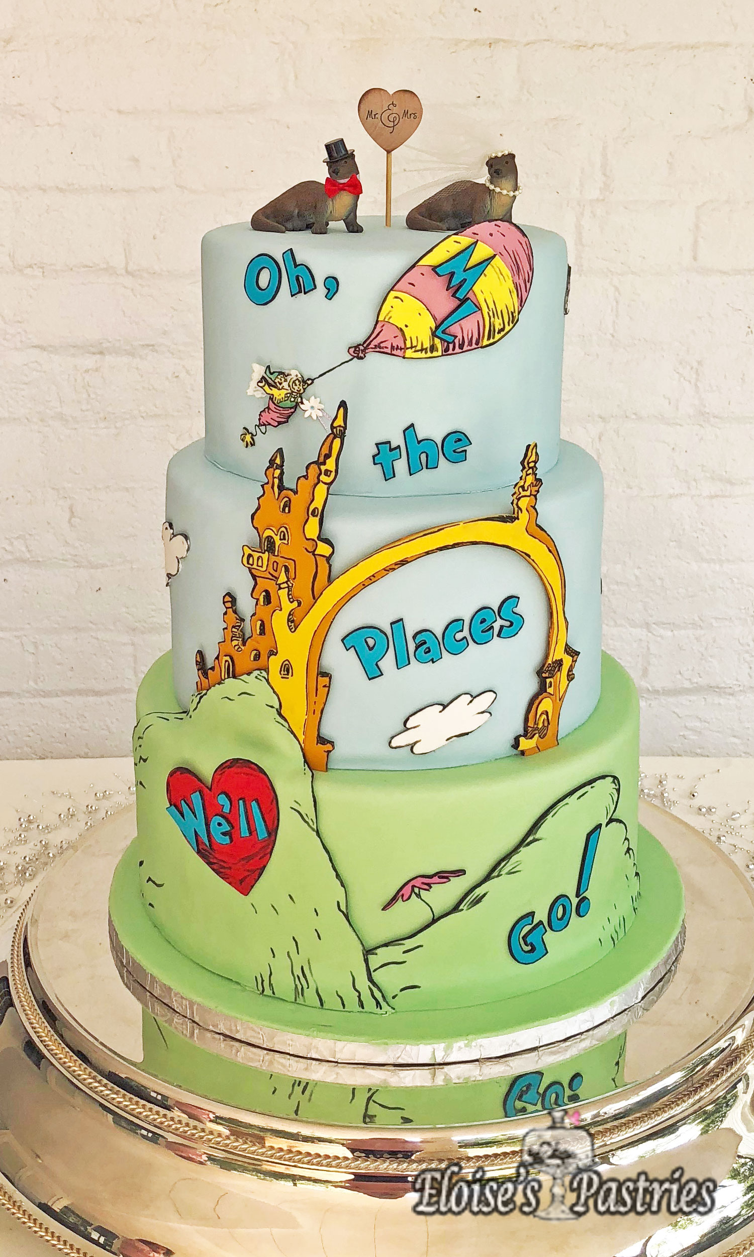 Oh The Places You'll Go Wedding Cake - Custom Cakes