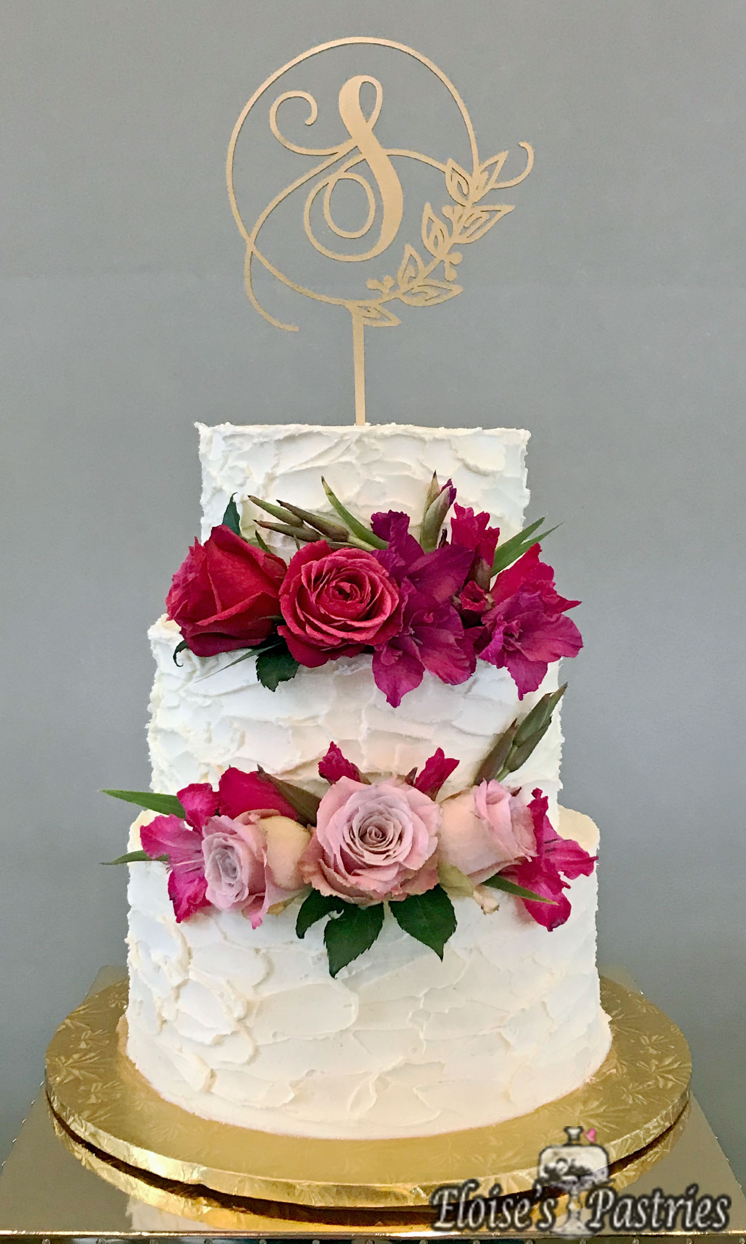 Textured Wedding Cake with Summer Flowers
