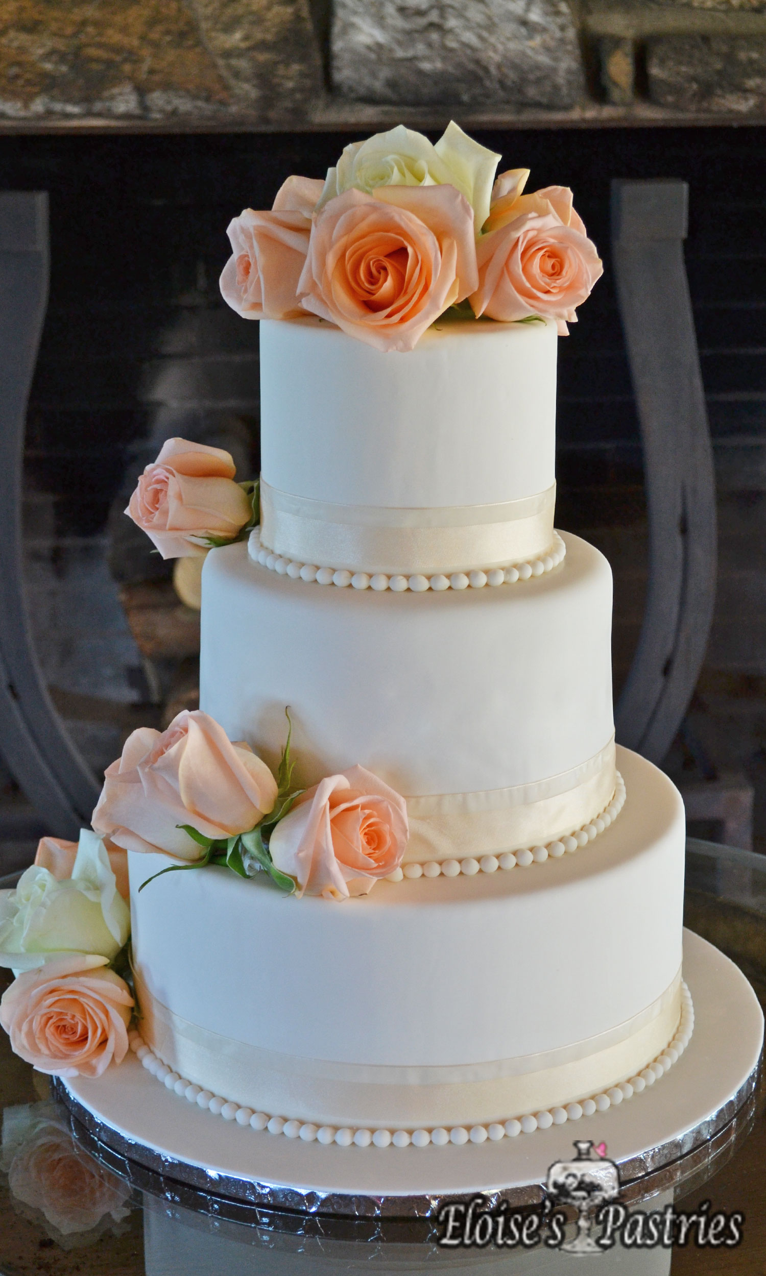 Classic Wedding Cake with Roses