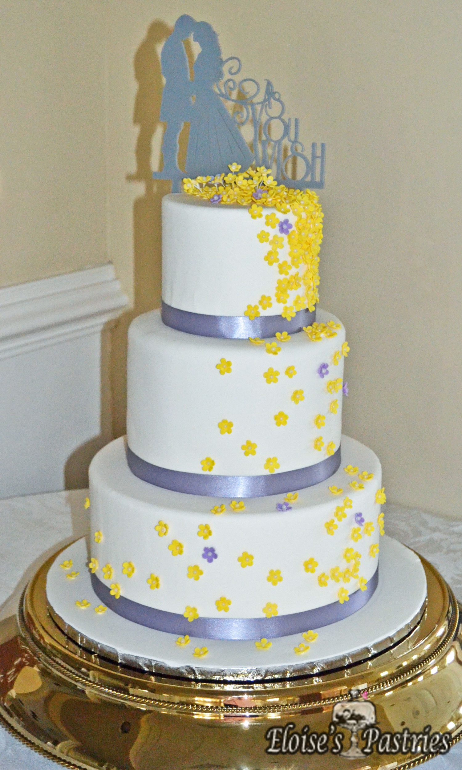 ButterCup and Lavender Wedding Cake