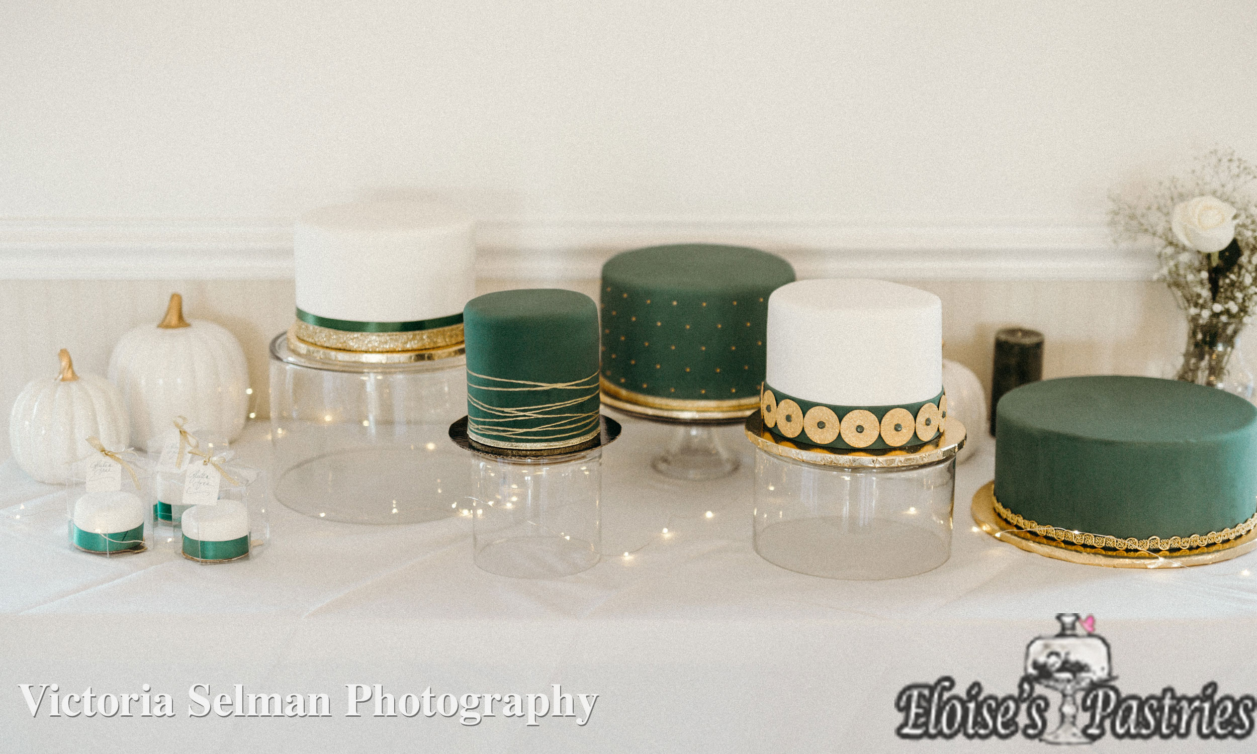 Emerald and Gold Wedding Cake Deconstructed