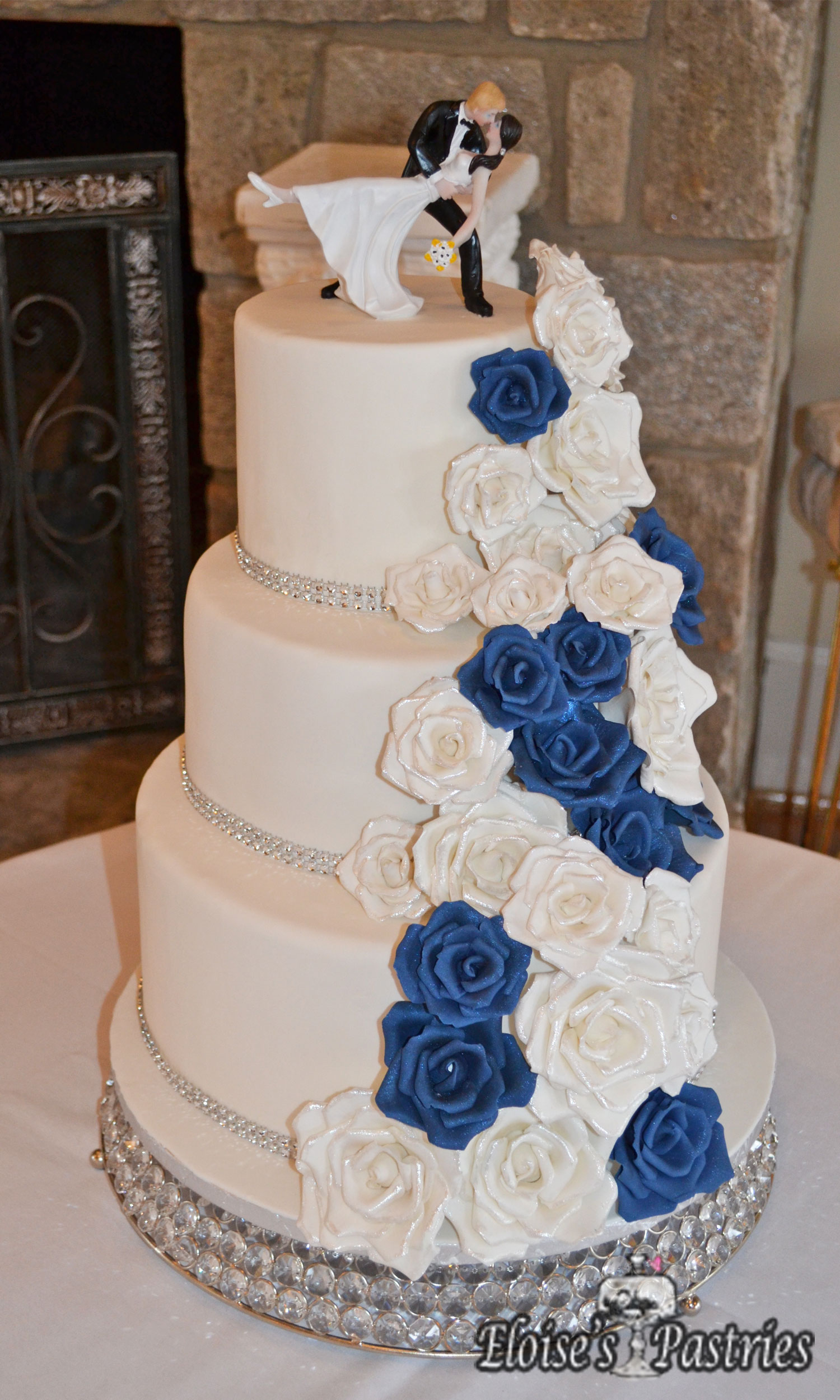 Navy and Silver Wedding Cake with Gumpaste Roses